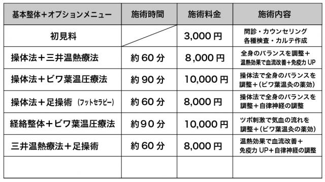 オプション整体料金表
